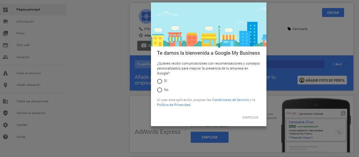 Alta en Google Mi Negocio