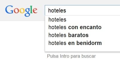 Sugerencias de autocompletado de Google