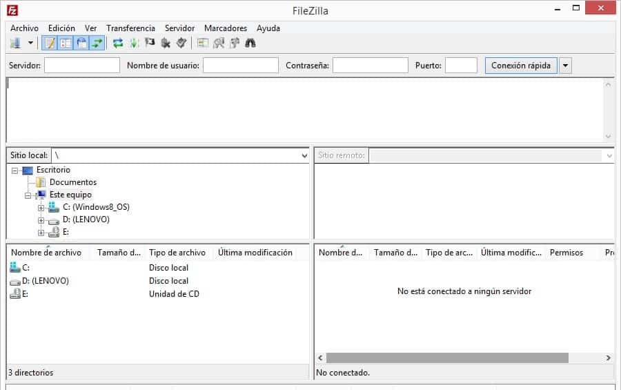 Interfaz de FileZilla