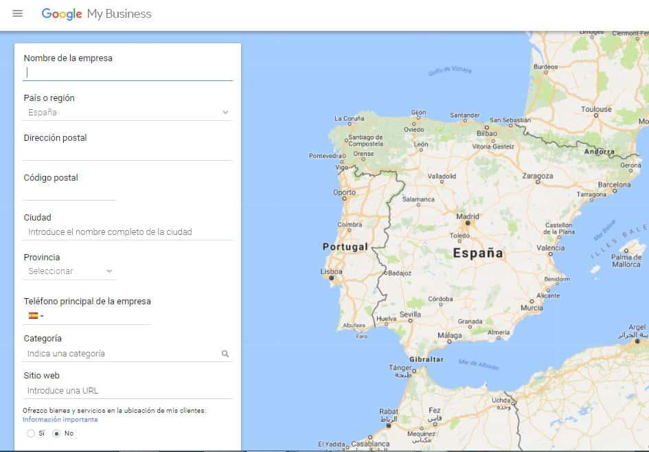 Página de registro de Google MyBusiness